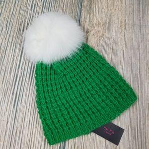 KYI KYI genuine fox fur pompom wool blend beanie